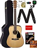 Fender CD-60 Dreadnought Acoustic Guitar Bundle with Hard Case, Strap, Tuner, Strings, Picks, Instructional Book, and Austin Bazaar Instructional DVD - Natural