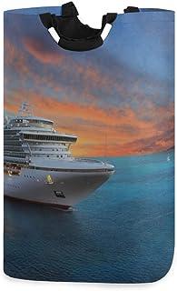 Grand panier à linge Yacht de luxe au lever du soleil Paniers Rangement de linge Paniers à linge 11 X 12,6 X 22,7 pouces T...