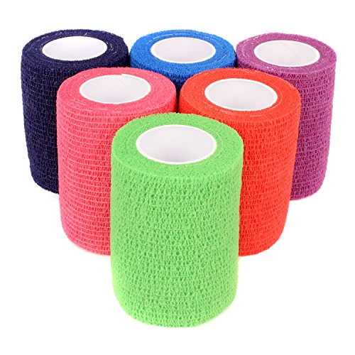 Ever Ready First Aid Self Adherent Cohesive Bandages 3 x 5 Yards - 12 Count, Rainbow Colors