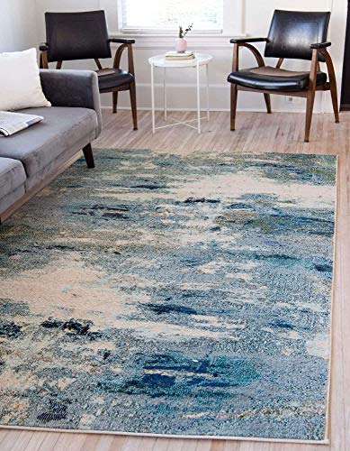 Unique Loom Chromatic Collection Abstract Modern Light Blue Area Rug (7' 0 x 10' 0)