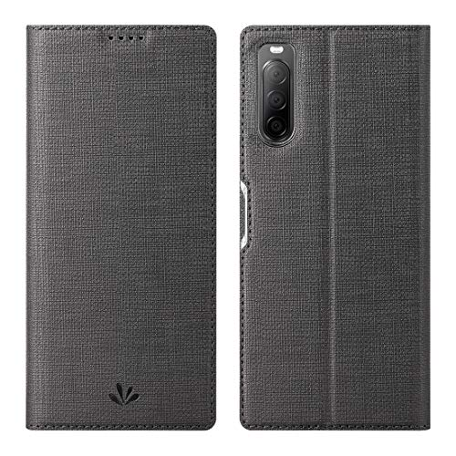 Foluu Sony Xperia 10 II Hülle, Xperia 10 II Hülle, Flip Folio Wallet Hülle Slim Premium PU Leder Hülle ID Credit Card Slots Kickstand Magnetverschluss TPU Bumper Cover für Sony Xperia 10 II