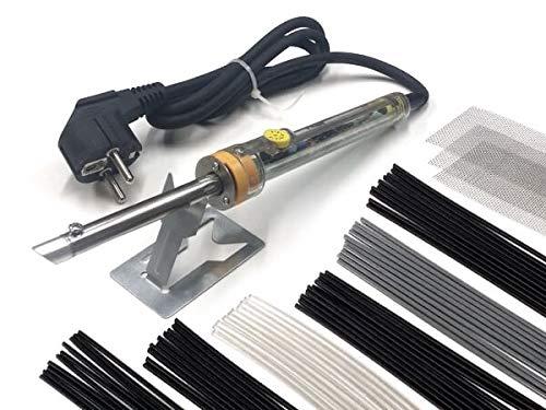 Aparato de soldadura SK60.0 COMIENZO surtido - Plástico reparación - 230V 60W - Temperatura de soldadura (ajustable contínuamente): ca. 200-450°C - incl. 60 barra de soldadura + malla de refuerzo