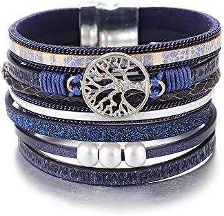 Bracelets de Bracelet en Cuir de larbre de Vie de lUEUC Brassard Multicouche Magnifique à la Main de Boho avec Boucle magnétique Bracelet décontracté pour Femme et Fille