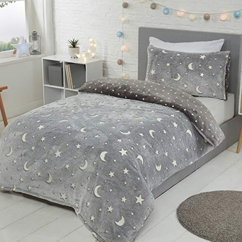 Sleepdown Moons & Stars Glow In The Dark Charcoal Kids Girls-Juego edredón y Funda de Almohada (135 x 200 cm), Color Gris, poliéster, Suelto