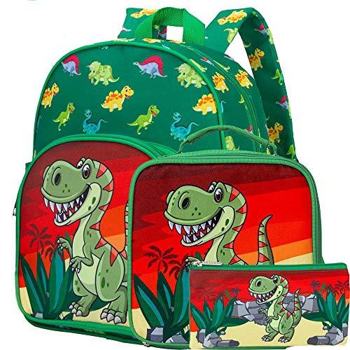 3 PCS Toddler Backpack for Boys, 12.5' Dinosaur Preschool Bag and Lunch Box Set