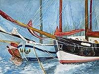 子供のための番号キットによるDIY油絵ペイント子供のための沿岸帆船大人ブラシで描く初心者クリスマスの装飾装飾ギフト