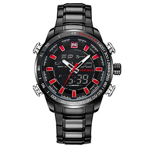 Naviforce - Reloj analógico digital para hombre, alarma LED de acero inoxidable, resistente al agua, reloj de cuarzo