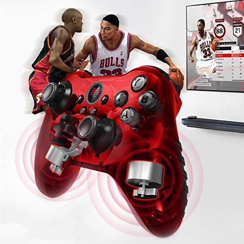 Ouqian Manette de Jeu Wireless Gamepad Wireless Game Controller Gamepad Bluetooth Peut être utilisé for Ordinateur Mobile Gaming Portable Joystick Poignée (Couleur : Red, Size : 15.6x10.5cm)