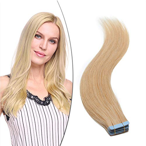 Elailite Extensions Echthaar Tape Haarteil Haarverlängerung Klebeband 16'/40cm 25g Glatt Remy Human Hair 10 Stücke #24 Natürliches Blond