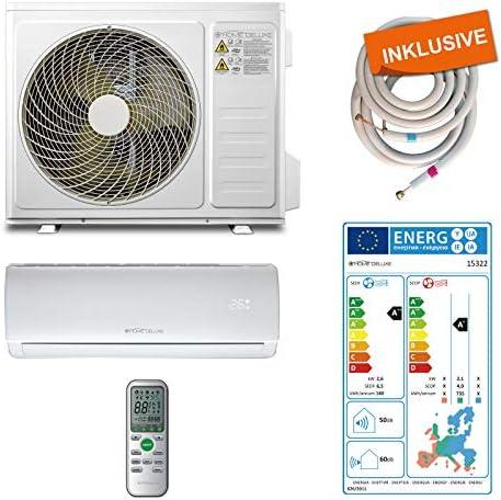 Home Deluxe – Klimaanlage SET Split XL – Kühlen A++/ Heizen A+ – 9000 BTU/h (2.600 Watt) – Kältemittel R32 – Fernbedienung und Timerfunktion – Inkl. komplettem Montagematerial [Energieklasse A++]