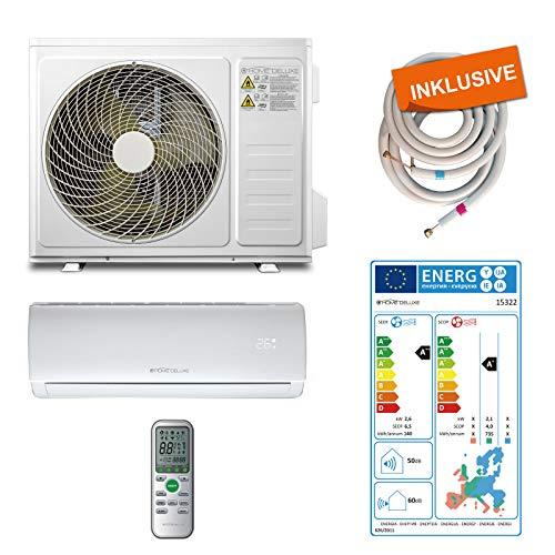 Home Deluxe - Klimaanlage SET Split XL - Kühlen A++/ Heizen A+ - 9000 BTU/h (2.600 Watt) - Kältemittel R32 - Fernbedienung und Timerfunktion - Inkl. komplettem Montagematerial [Energieklasse A++]