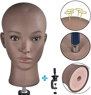 Bald Mannequin Head Beige Professional Cosmetology for Wig Making, Display wigs, eyeglasses, hairs with Free Clamp