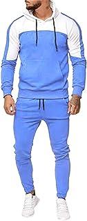 ZEZKT-Hombre Manga Larga, chándal para Hombre, Moda Casual otoño e Invierno Chandal Completo para Hombre Sudadera con Capucha de Manga Larga + Pantalones Deportivos Conjuntos