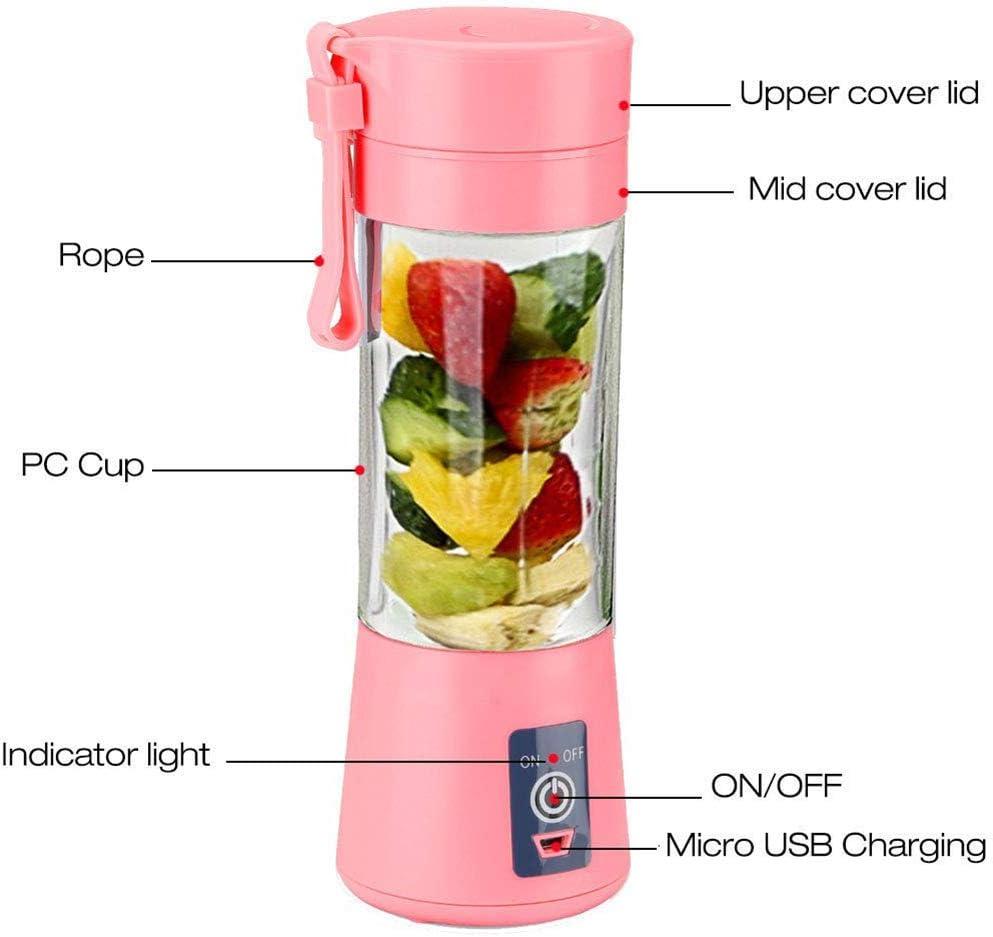 Radiancy Inc Topspitgo Mini licuadora portátil,Mezclador de Frutas de tamaño Personal Eléctrico USB Taza de exprimidor Recargable Máquina de Mezcla de Frutas Baby Travel 380ml Pink