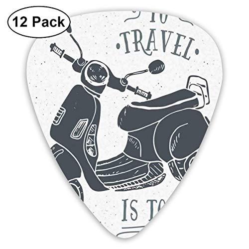 Guitar Picks Sketch Scooter mit zu reisen ist zu leben Zitat handgezeichnetes Design, für Bass Electric Acoustic Guitars-12 Pack