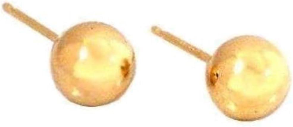 14K Gold 7mm Ball Earrings & Ear Backs