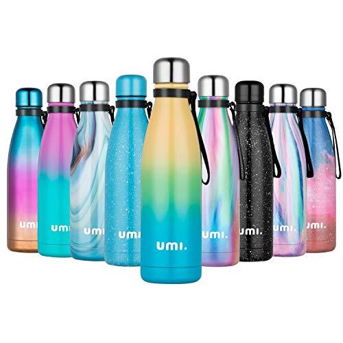 UMI. by Amazon - Borraccia Termica 500ml, Porta Bottiglia Termica Acqua Isolata, Borracce Termiche Alluminio Acciaio Inox, Riutilizzabile Borraccia Sportiva Senza BPA, Giallo Blu