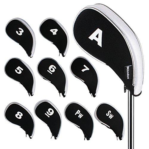 Andux Couvre-Clubs de Golf Avez zippé Capuchon de Golf 10pcs Noir/Blanc MT/YB03