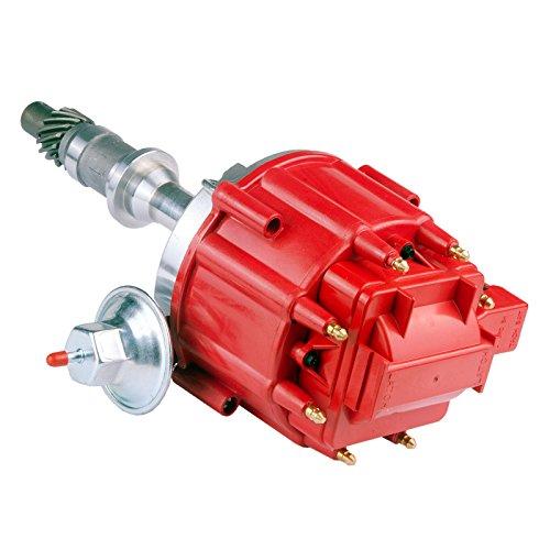 MAS Ignition Distributor w/Cap & Rotor 1040011 65K Coil Small Block Compatible with Pontiac 301ci 326ci 350ci 389ci 400ci 421ci 428ci 455ci V8 HEI One Wire Installation Red Cap