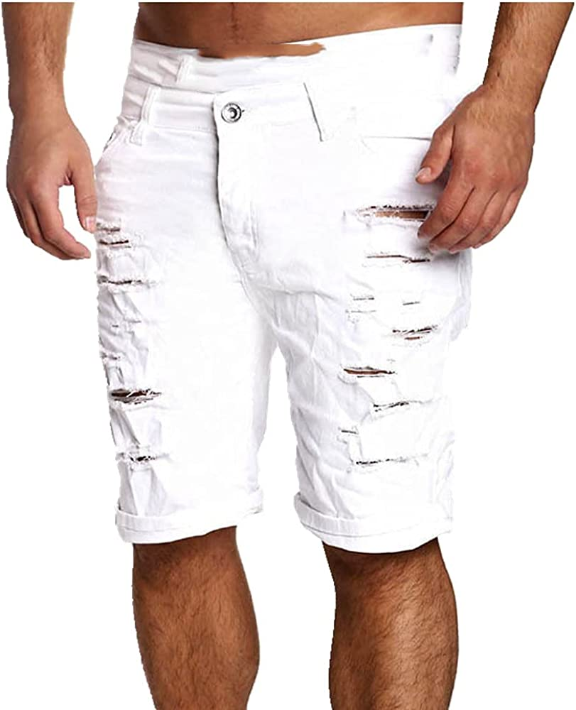 NP Men's Casual Comfortable Denim Shorts Denim Skinny Short