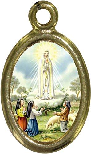 Ferrari & Arrighetti Medalla Virgen de Fátima de Metal Dorado y Resina - 2,5 cm