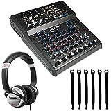 Alesis MultiMix 8 USB FX | 8-Channel Mixer with Effects & USB Audio Interface + Op/Tech Strapeez + On-Ear DJ Headphones
