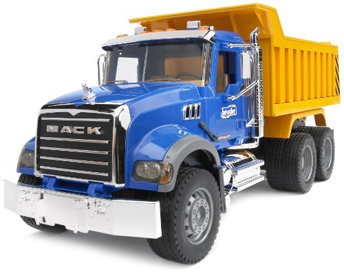 Bruder 02825 MACK Granite Dump Truck with Snow Plow Blade for Construction and Farm Pretend Play with Light & Sound Module