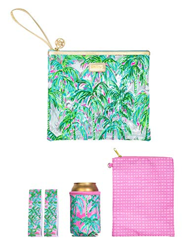 Lilly Pulitzer Water Resistant Vinyl Beach Day Pouch - Includes Drink Hugger, Zip Pouch, and Towel Clips, Suite Views