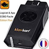 klavkarr 210 - Valise Diagnostic Auto Multimarque OBD2 Bluetooth - 100% en Français - Prise OBD Diagnostique Voiture Diesel & Essence sur iPhone/Android/Ordinateur