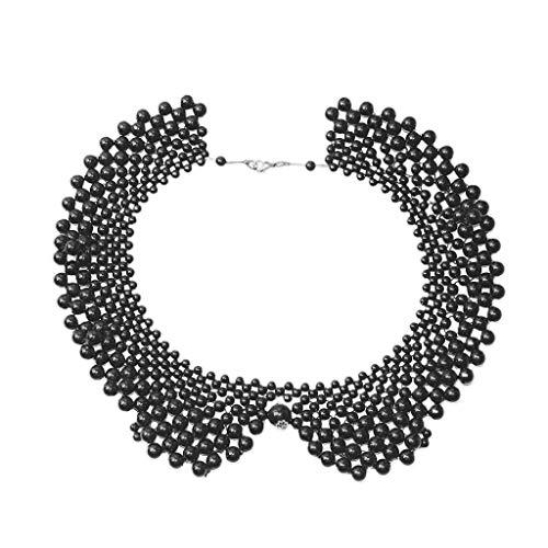 njuyd Ladies Collar Ethnic Handmade Woven Beading False Collar Imitation Pearl Jewelry Women Bib Choker Necklace Romantic Blouse Decorative Costume
