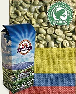 Colombia Excelso Santander Rain Forest Alliance Raw (Green) Coffee Beans, 2lbs