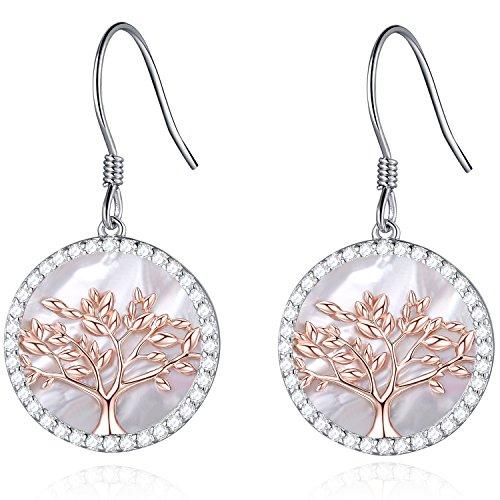 MEGACHIC Pendientes Árbol de la Vida Oro Rosa para Mujer Plata 925 con Nácar Cristales