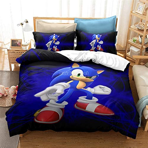 New 3D Bedding Set Sonic Hedgehog Pattern Duvet Cover and Pillowcase Queen King Size (15.180 x 210 cm)
