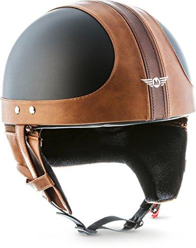 "Moto Helmets® D22 ""Vintage Black"" · Brain-Cap · Halbschale Jet-Helm Motorrad-Helm Bobber · Fiberglas Schnellverschluss SlimShell Tasche XXL (63-64cm)"