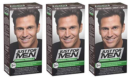 Just for Men - H55 - Haarfärbemittel, Pflege Tönungs Shampoo, Schwarz, 3er Pack