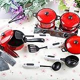 liunian459 13pcsKüche Spielzeug Schaufel Topf Löffel Küchenspielzeug Zubehör Kinderküche Kochgeschirr Edelstahl Pfannenset für Mädchen und Jungen