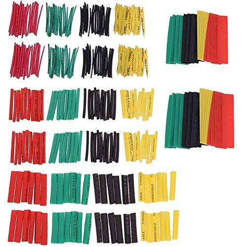 Wärme-Schrumpfschlauch 2:1, 328 Stück, Isolierung, Schutz, schwer entflammbar, Hitzeschrumpfschlauch, 4 Farben, 8 Größen