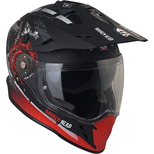 Broken Head Road Pirate Cross-Helm mit Visier | Endurohelm – MX Motocross Helm mit Sonnenblende – Quad-Helm Größe M (57-58 cm) - 3