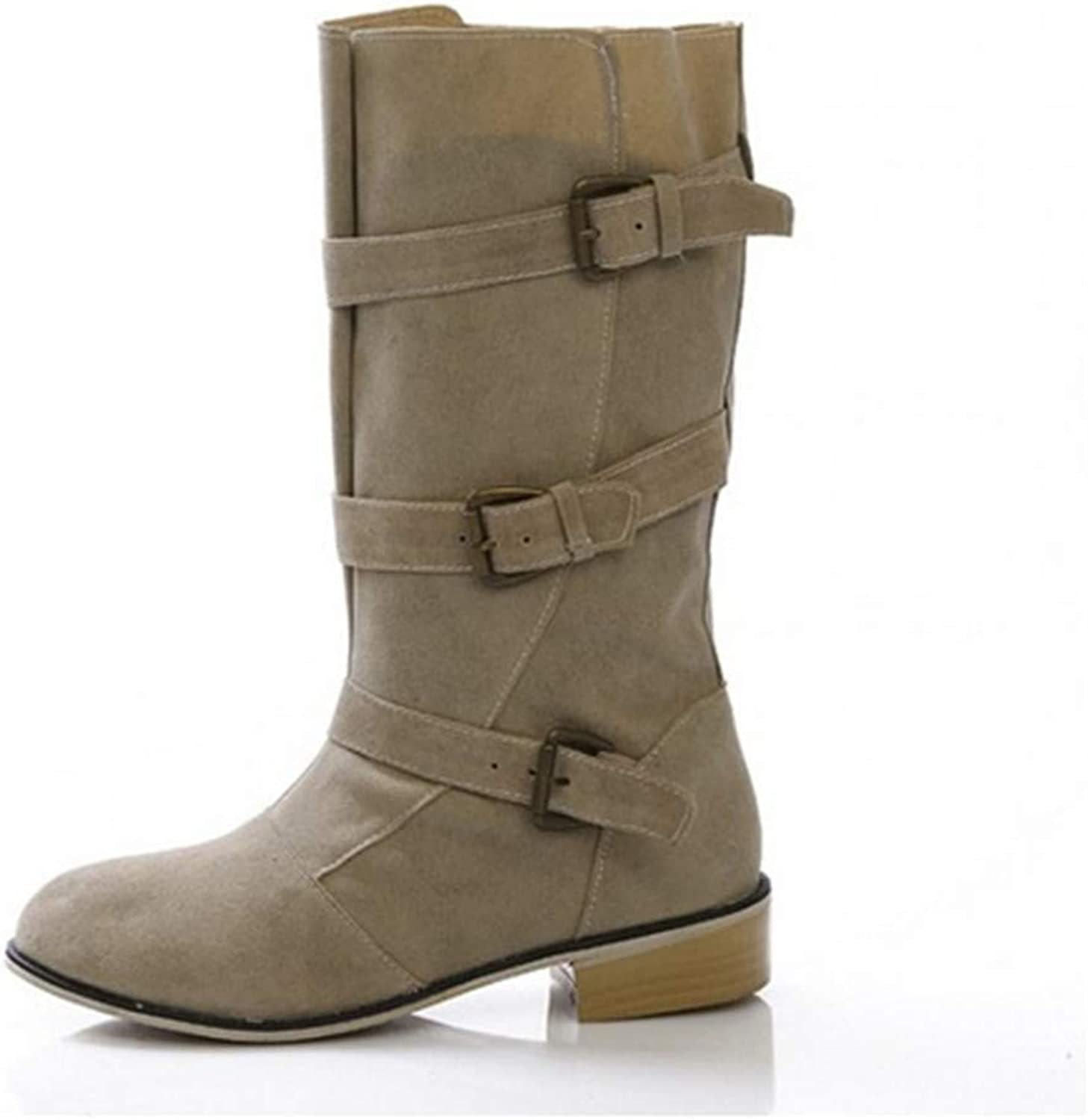 Winter Women's Suede Low Heel Boots Large Size PU Leather Warm Imitation Leather Lining