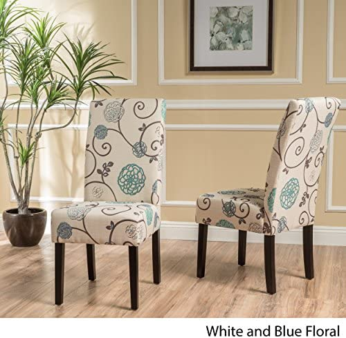 Best Christopher Knight Home Pertica Fabric Dining Chairs, 2-Pcs Set, White And Blue Floral