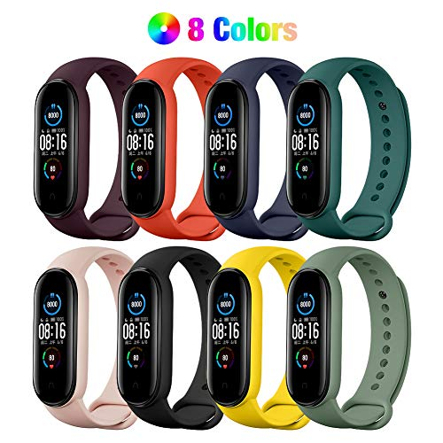 YHC [11 Unidades] Correa de 8 Colores + Película Protectora de 3 Piezas para Xiaomi Mi Band 5 2020,  Pulsera de Silicona con Protector de Pantalla