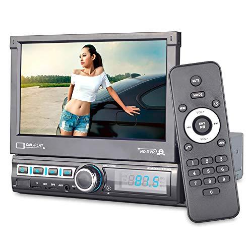 YChoice365 Lettore MP5 per auto, autoradio Bluetooth 7 One Din con schermo HD retrattile elettrico, telecamera posteriore, collegamento specchio, autoradio USB TF AUX MP5 per radio Android