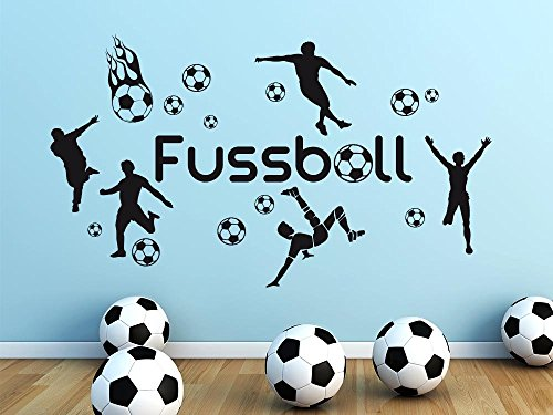 GRAZDesign Wandgestaltung Wandaufkleber Jugendzimmer Fussball Set Fußball - Spielzimmer Deko Fussballspieler mit Bälle Toor - Wandtattoo Fussballer / 150x57cm / 770103_57_074