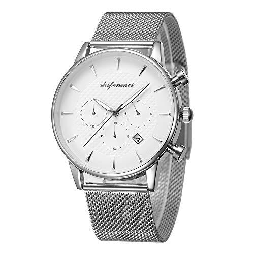 Shifenmei Erwachsene Unisex Armbanduhr Quarzuhr Analog Chronograph Kalender Stilvolles Design für Herren Damen 1082 mit Geschenkbox