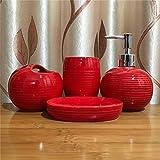DETZH Botella de baño de cerámica Set de Accesorios Elegante y único Conjunto de Textura Incluyendo desinfectante de la Mano Cepillo de Dientes Titular de jabón Caja de Enjuague bucal Copa,Rojo