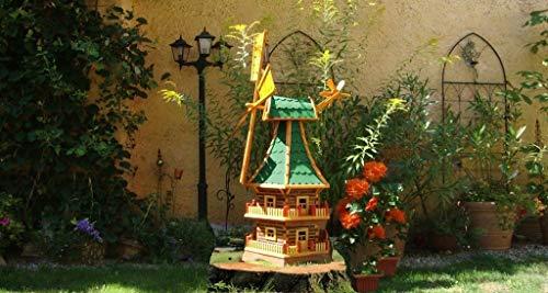 XXXL,Windmühle, wetterfest,robust mit Bitumen, MIT WINDFAHNE Windrad-Seitenruder, Windmühlen Garten, imprägniert + kugelgelagert 1,60 m groß DOPPELSTÖCKIG 2-stöckig grün grüngrau moosgrün