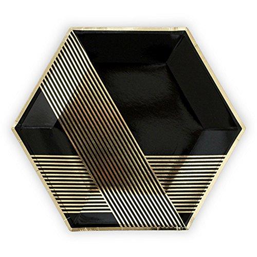 Noir et Doré Premium Grande hexagonale Lot de 8 assiettes de fête