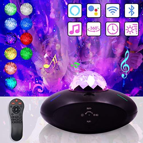 Smart LED Sternenhimmel Projektor, Nachtlicht mit Wi-Fi Verbindung, Kompatibel mit Alexa/Google Assistant, Sternenprojektor mit Fernbedienung Bluetooth Lautsprecher Wasserwellen für Party