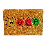 koko doormats Kook Time Felpudo para Entrada de Casa Original, Modelo Hola Colores, Fibra de Coco y PVC, 40x60cm