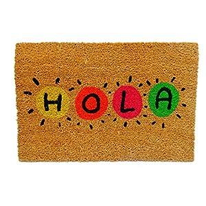KOOK TIME Koko Doormats Felpudo para Entrada de Casa Original, Modelo Hola Colores, Fibra de Coco y PVC, 40x60cm